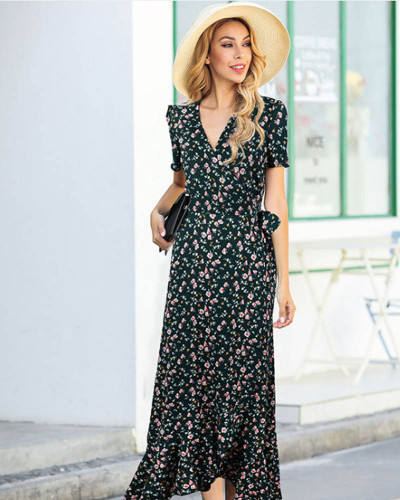 Green V-neck polka dot irregular ruffled dress mermaid floral dress