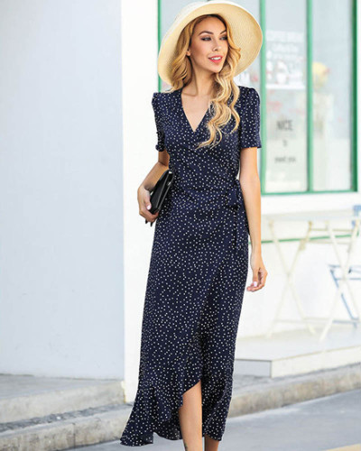 Dark bule V-neck polka dot irregular ruffled dress mermaid floral dress
