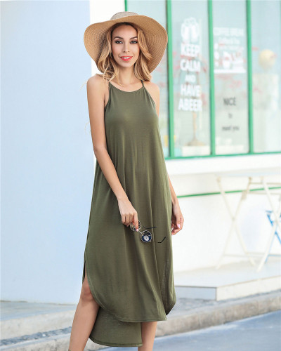 Army green Solid color sling short front and back long slit dress loose long skirt