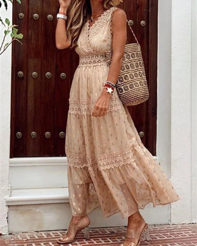 Apricot Sexy Deep V Sleeveless Chiffon Dress