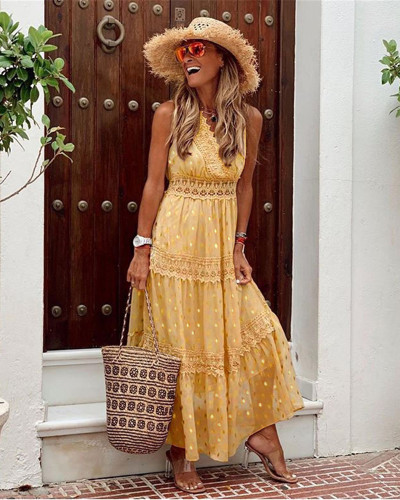 Yellow Sexy Deep V Sleeveless Chiffon Dress