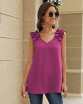 Rose red Folded shoulders front and back V-neck shirt top