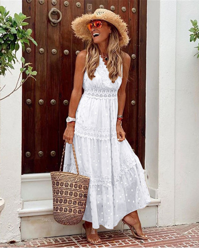 White Sexy Deep V Sleeveless Chiffon Dress