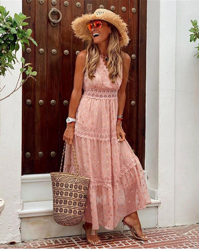 Pink Sexy Deep V Sleeveless Chiffon Dress