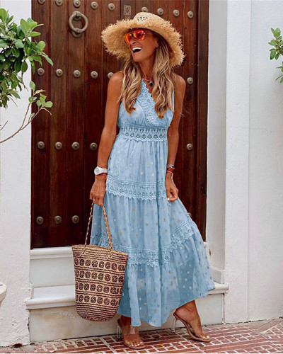 Light Blue Sexy Deep V Sleeveless Chiffon Dress
