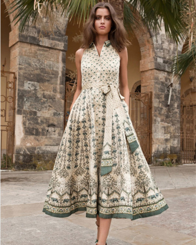 Sleeveless printed slim dress