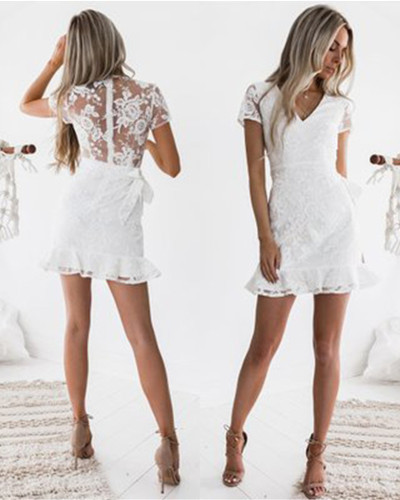 Sexy lace lace V-neck dress