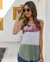Army green Leopard stitching striped racer tank top