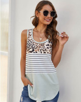 Gray Leopard stitching striped racer tank top
