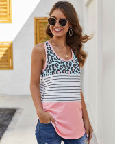 Pink Leopard stitching striped racer tank top