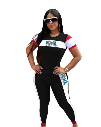 Black Casual short-sleeved letter stitching autumn sports suit