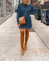 Dark bule Pure color long-sleeved lantern sleeve casual sweater T-shirt dress