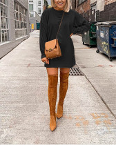 Black Pure color long-sleeved lantern sleeve casual sweater T-shirt dress