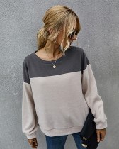 Deep Gray Simple color block sweater with long sleeves