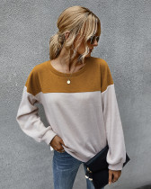 Brown Simple color block sweater with long sleeves