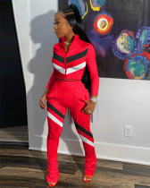 Red Fashion casual stitching sports suit two-piece suit