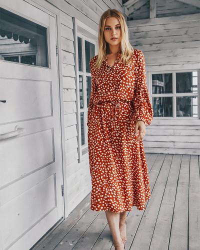 Orange Long sleeve simple printed dress