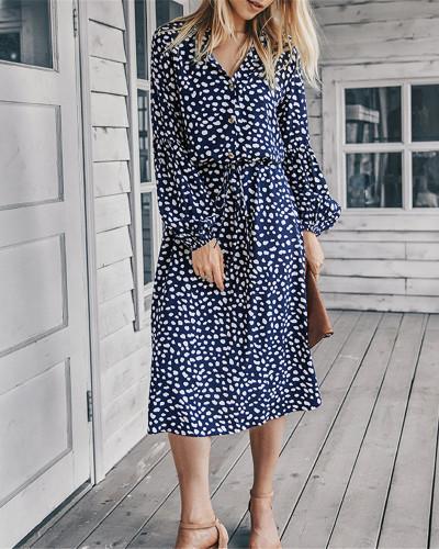 Blue Long sleeve simple printed dress