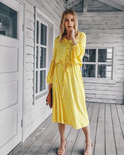 Yellow Long sleeve simple printed dress