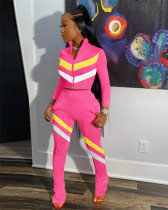 Pink Fashion casual stitching sports suit two-piece suit