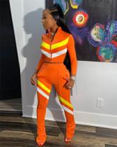 Orange Fashion casual stitching sports suit two-piece suit