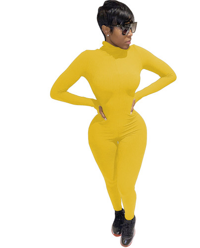 Yellow Long Sleeve Letter Embroidered Jumpsuit