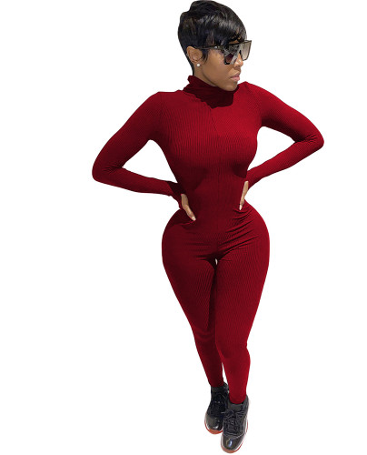 Red Long Sleeve Letter Embroidered Jumpsuit