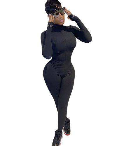 Black Long Sleeve Letter Embroidered Jumpsuit