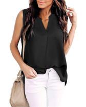 Black Woven solid color v-neck shirt top