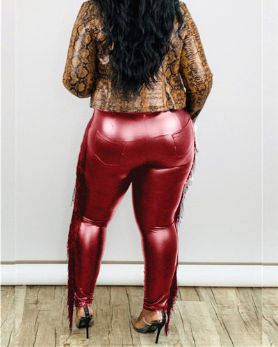 Red Sexy tassel bag hip cropped plus size leather pants
