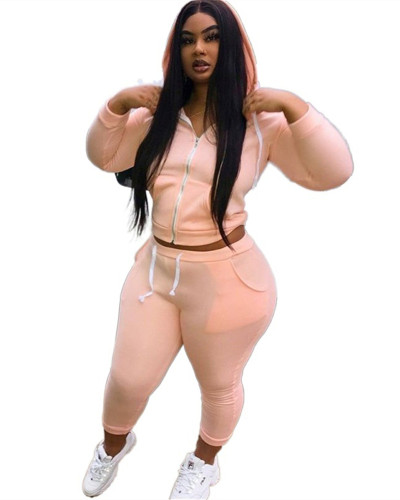 Two-piece sports hooded sweater plus size