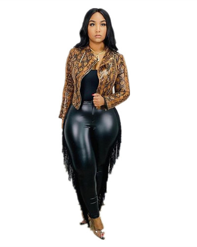 Black Sexy tassel bag hip cropped plus size leather pants
