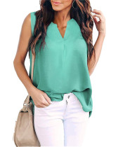 Green Woven solid color v-neck shirt top