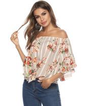 Khaki One shoulder strap floral flared sleeve top