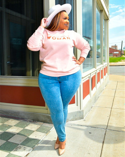 Printed letters sports casual plus size sweatshirt