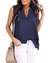 Dark bule Woven solid color v-neck shirt top