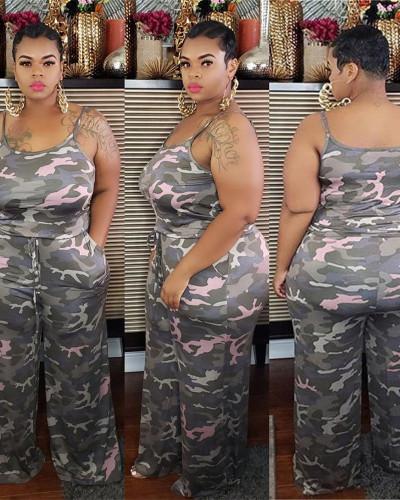 Camouflage print plus size two-piece suit