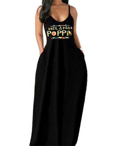 Black Deep V sling plus size women's dress