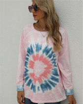 Pink Long-sleeved tie-dye loose top round neck sweater