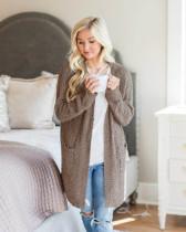 Gray Long sleeve cardigan pocket sweater coat