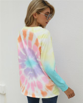 6 Long-sleeved tie-dye loose top round neck sweater
