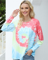 Color Long-sleeved tie-dye loose top round neck sweater