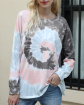 Gray Long-sleeved tie-dye loose top round neck sweater