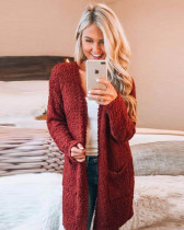 Claret Long sleeve cardigan pocket sweater coat
