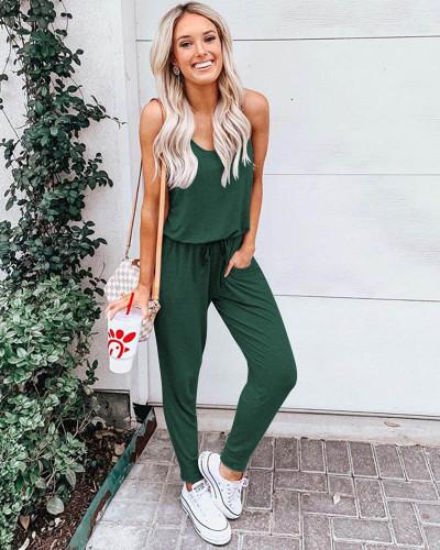 Dark green Short sleeve chiffon jumpsuit suit jumpsuit