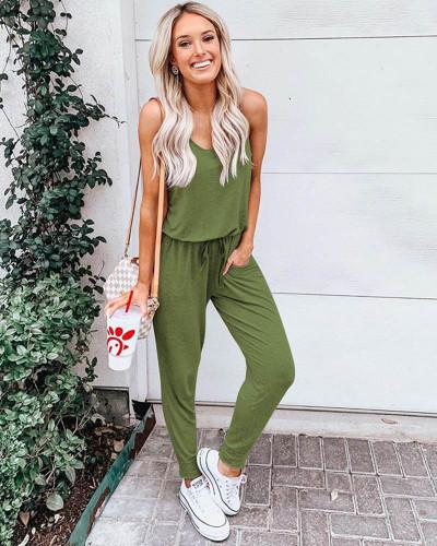 Army green Short sleeve chiffon jumpsuit suit jumpsuit