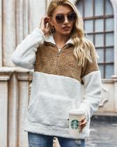 Camel Tie-dyed plush sweater loose coat