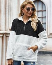 Black Tie-dyed plush sweater loose coat