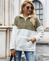 Green Tie-dyed plush sweater loose coat
