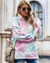 Pink Tie-dyed plush sweater loose coat